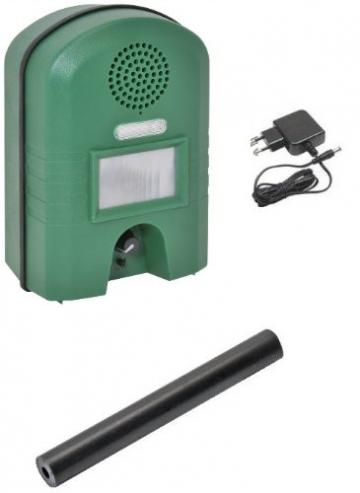 Ultraschall Vertreiber mit Bewegungsmelder & BLITZ -